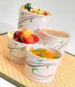 Huhtamaki compostable paper take out containers